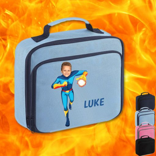 sky blue lunch bag with fireboy image