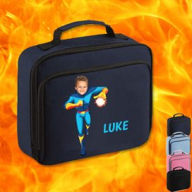navy lunch bag with fireboy image