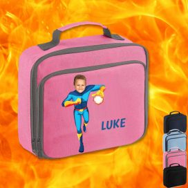 pink lunch bag with fireboy image