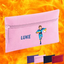 pink pencil case with fireboy image