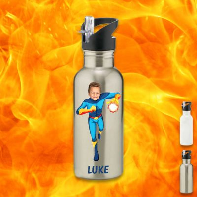 silver water bottle with fireboy image