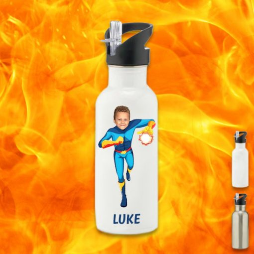 white water bottle with fireboy image