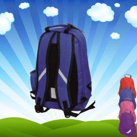 back of blue backpack