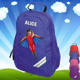 blue backpack with flygirl image