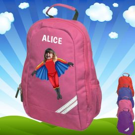 pink backpack with flygirl image