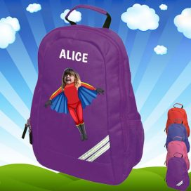 purple backpack with flygirl image