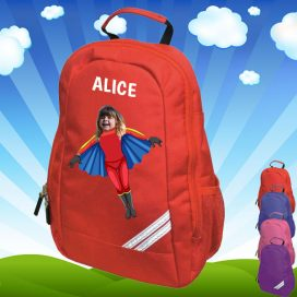 red backpack with flygirl image