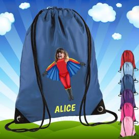 blue drawstring bag with flygirl image