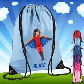 sky blue drawstring bag with flygirl image