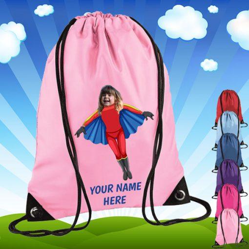 light pink flygirl drawstring bag