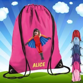 pink drawstring bag with flygirl image