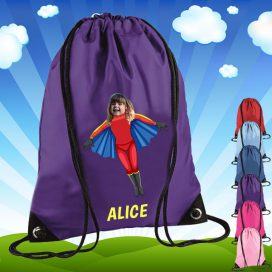 purple drawstring bag with flygirl image