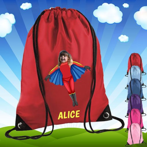red drawstring bag with flygirl image