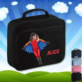 black lunch bag with flygirl superhero image