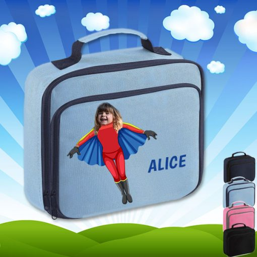 sky blue lunch bag with flyrgirl superhero image