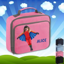 pink lunch bag with flygirl superhero image