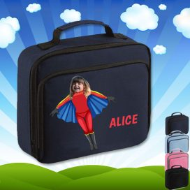 navy lunch bag with flygirl superhero image