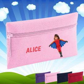 pink pencil case with flygirl image
