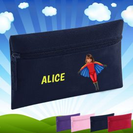 navy pencil case with flygirl image