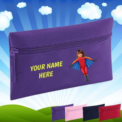 purple flygirl pencil case