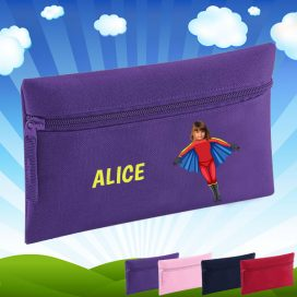purple pencil case with flygirl image