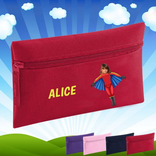 red pencil case with flygirl image