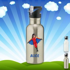silver water bottle with flygirl image