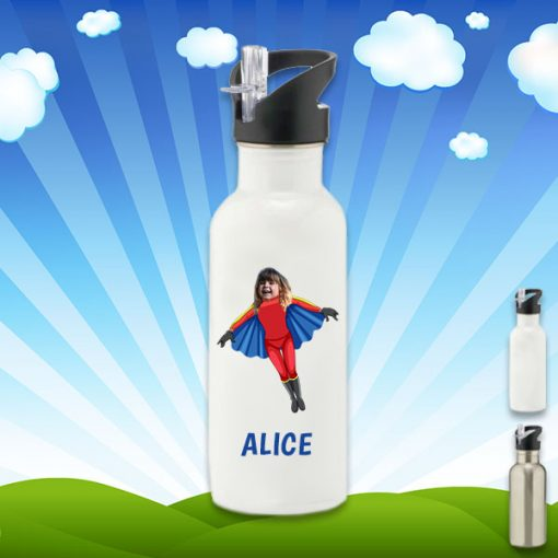 white water bottle with flygirl image