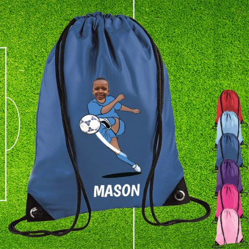 blue drawstring bag with footballer image