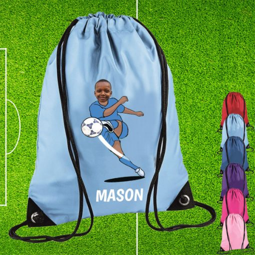 sky blue drawstring bag with footballer image