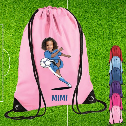 light pink drawstring bag with footballer image