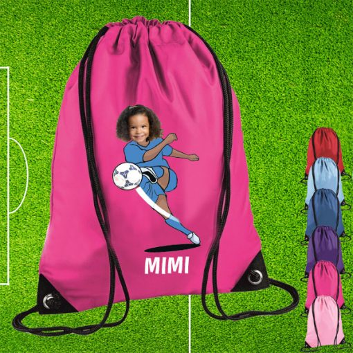 pink drawstring bag with footballer image