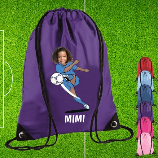 purple drawstring bag with footballer image