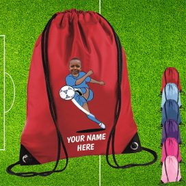 red footballer drawstring bag
