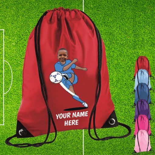 red footballer drawstring bag