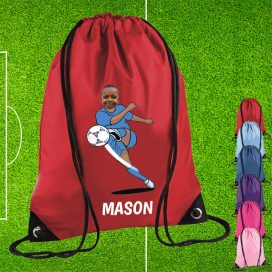 red drawstring bag with footballer image