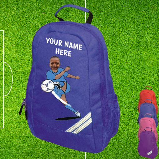 blue footballer backpack