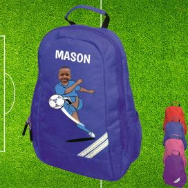 blue backpack with footballer image