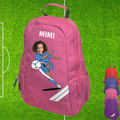 pink backpack with footballer image