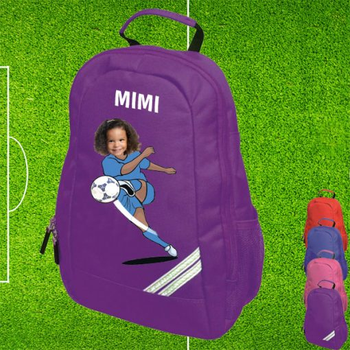 purple backpack with footballer image