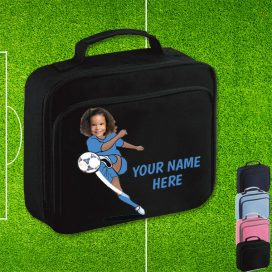 footballer black lunch bag