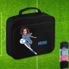 black lunch bag with footballer image
