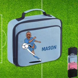 sky blue lunch bag with footballer image