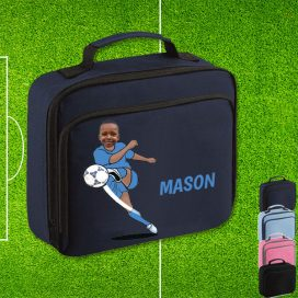 navy lunch bag with footballer image