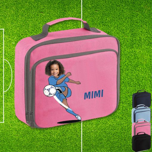pink lunch bag with footballer image