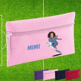 pink pencil case with footballer image