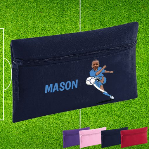 navy pencil case with footballer image
