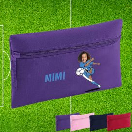 purple pencil case with footballer image