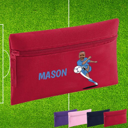 red pencil case with footballer image