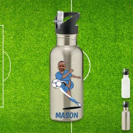 silver water bottle with footballer image